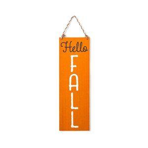 "Halloween ""Hello Fall"" Harvest Orange Hanging Wooden Wall Sign - Spritz"